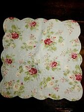 """Quilted Light Blue Floral Pillow Cover ~20"""" Square ~ Roses ~ Chic not Shabby"""