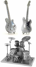Metal Earth Laser Cut Steel Models Drum Set Bass & Lead Electric Guitar SET of 3