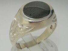 Hematite Signet Sterling Silver Fine Rings