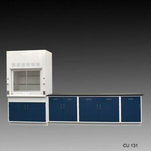 4' Fisher American Fume Hood w/ Storage & 9' Laboratory Cabinet Group / E1-671