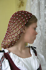 Beaded Burgundy Snood with 6mm Pearl beads in my Net Style in the longer length