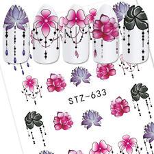 5Pcs DIY Water Transfer Gradient Light Nail Art Stickers Rose Flowers Manicure