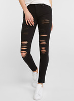 Levis 711 Destructed Jeans Black Ripped Skinny Jeans 26,27,28,29,30,31,32,33