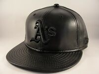 MLB Oakland Athletics New Era 59FIFTY Fitted Hat Cap Black Leather