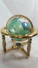 Semi-Precious Gem Stone World Globe RARE GREEN OCEAN 6""