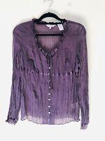East Plum Purple 100% Silk Sheer Crinkle Button Blouse Size 12 A2027