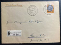 1940 German Luxembourg Occupation Registered Cover to Mannheim Germany