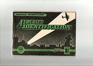 WW2. 1942. German Monoplanes Aircrafrt Identification Booklet. Part 2. Aeroplane