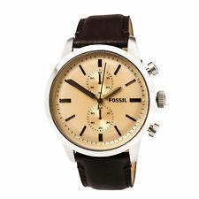 Fossil мужские часы горожанин розовое золото циферблат темно-коричневой кожаным ремешком FS5156