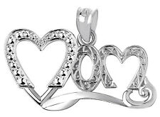 Mother's Day Gifts Fine 925 Sterling Silver Mom Fancy Double Hearts Pendant