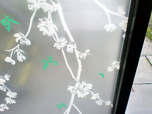 WHITE FLORAL GREEN BUTTERFLIES FROSTED WINDOW FILM - 90cm x 1m Roll 9616