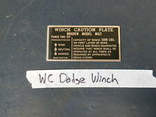 Jeep Dodge WC WWII truck Winch data plate (P51)