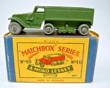 "MATCHBOX rw 49a Army half track métal roues dans ""petit moko"" BOX"