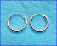 Paire de argent sterling 925 boucles d'oreilles créoles 10 mm de diamètre !
