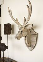 Recycled Wood Deer Head Wall Hanging Rustic Cabin Lodge Decor Moose Elk Antlers