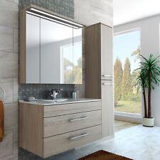 Badezimmer Möbel Set 100 cm breite mit Medizinschrank Waschbecken beige creme