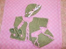 Handmade Crochet Baby Sweater,Hat, Diaper Cover Booties Set  Newborn 3 Months