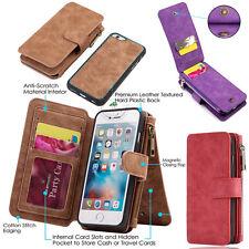 AU New Retro Wallet Leather Zipper Magnetic Removable Flip Cover Card Slots Case