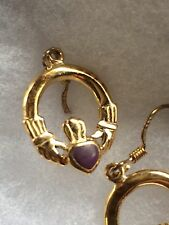 14 Kt Yellow Gold Over Sterling Celtic Claddagh Purple Stone Inlay Earrings
