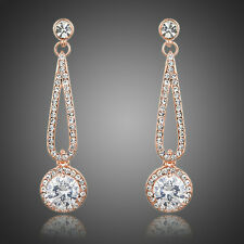 Fashion Cute White Austria Crystal Zircon Rose Gold Plated Drop Dangle Earrings