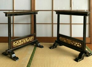 Pair of Japanese Antique Wood Candle Stands in Buddhist Temple, assembling, H.19
