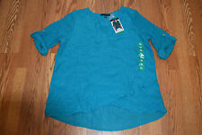 NWT Womens FEVER Teal Green Roll Tab Tunic Shirt Blouse Size L Large