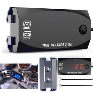 Universal ATV Motorcycle LED Voltmeter Voltage Gauge Time Display Clock Watch 1x