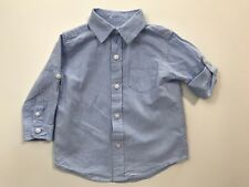Janie And Jack Spring Regatta Blue Roll Up Sleeve Shirt Size 6-12 Months