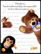 1993 Steiff stuffed animals plush Molly teddy bear bunny monkey photo print ad