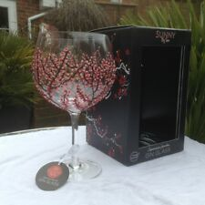 Sunny By Sue Hand Painted Gin Tonic  Red And Pink Blossom Balloon Glass Boxed 15