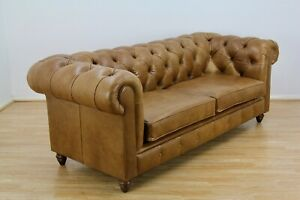 John Lewis Chesterfield Large 3 Seater Leather Sofa, Riders Nut