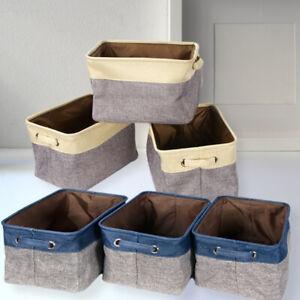 Set of 3 Folding Linen Fabric Storage Basket Collapsible Organizer Storage Box