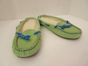 LL BEAN Blue Green Suede Hearthside Slippers Moccasins Size 5 Sherpa Lined