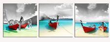 Meigan Art Canvas Print Wall Art, 3 Panels Seascape Painting Red Boat Blue Ocean