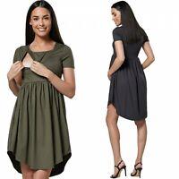 Zeta Ville. Women's Maternity Nursing Dress Short Sleeves Side Pockets. 102p