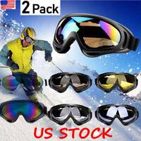 2Pack Winter Snow Sports Goggles Anti-Fog Lens Ski Snowmobile Snowboard Glasses