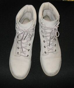 Authentic Timberland White Leather Suede Boots Women's 8.5 Excellent Condition