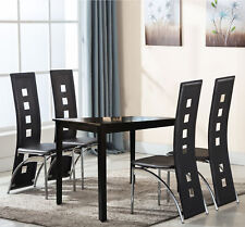 5 PCS Black Dining Table And 4 Chairs Set Kitchen Dining Room Furniture