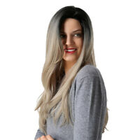 Fashion Women Black  Ombre Blonde Long Curly Wavy Hair Full Cosplay Wig