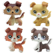 4pcs #2452 #1542 #58 #No Littlest Pet Shop Brown Collie Dog Puppy LPS Rare