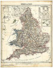 Karte von England und Wales von 1848, Grenzkolorierte Lithographie.