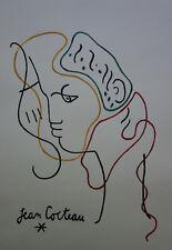 Modernist Ink Painitng w COA, signed Jean Cocteau , Dali Miro era