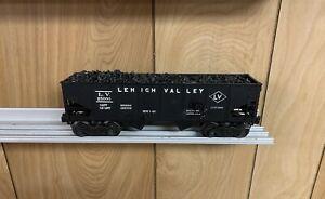 ✅LIONEL POSTWAR LEHIGH VALLEY 2 BAY HOPPER CAR W/ COAL LOAD 6456! O GAUGE BLACK