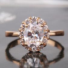 18k Gold Filled Oval Swarovski Crystal Cluster Design Engagement Ring Sz 5-9