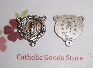Fancy Miraculous Oxidized Silver Tone Rosary Centerpiece