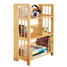 Shelf Unit 3 Tier Tropical Hevea Wood Folding Space Saving Storage Organizer