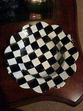 Mckenzie Childs Black And White Check Enamel Serving Bowl