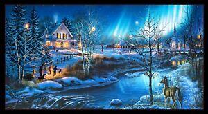 "All Is Bright Church Christmas Winter Village Fabric Panel  23"" x 42""   #19000E"