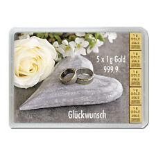 5 x 1 Gramm Goldbarren Hochzeit Gold 999,9 Feingold Barren in Geschenkverpackung