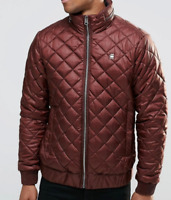 GStar Meefic Hooded Quilted Long Sleeve FZ Overshirt Burgundy Coat Mens XS*Ref43